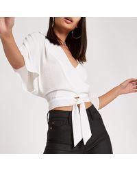 River Island - White Wrap Tie Front Kimono Sleeve Top - Lyst