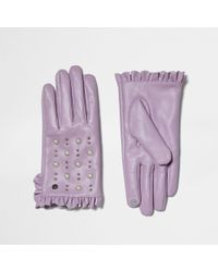River Island - Light Purple Leather Studded Frill Gloves - Lyst