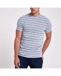 River Island - Minimum Light Blue Stripe Print T-shirt - Lyst