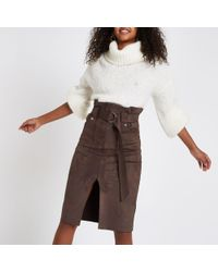 River Island - Brown Suede Paperbag Waist Belted Midi Skirt - Lyst