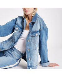 River Island - Light Blue Ripped Denim Boyfriend Jacket - Lyst