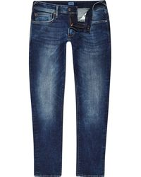 River Island - Pepe Jeans Mid Blue Stanley Tapered Jeans - Lyst