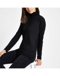 River Island - Black Roll Neck Batwing Sleeve Jumper - Lyst