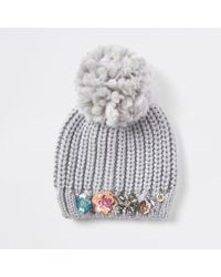 River Island - Knit Embellished Beanie Hat - Lyst