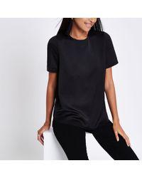 River Island - Black Zip Back Loose Fit T-shirt - Lyst