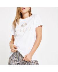 River Island - White 'venezia' Embroidered T-shirt - Lyst