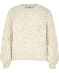 River Island - Petite Cream Knit Jumper - Lyst