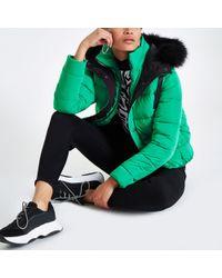 River Island - Green Padded Faux Fur Hood Puffer Jacket - Lyst