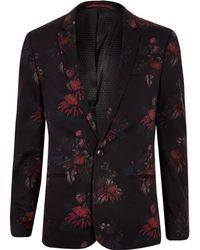River Island - Floral Skinny Suit Jacket - Lyst