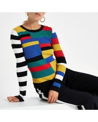 River Island - Black Stripe Knitted Long Sleeve Top - Lyst
