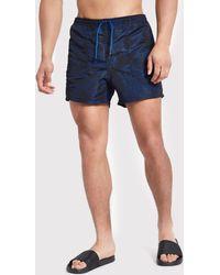 River Island - Only & Sons Dark Blue Print Swim Shorts - Lyst