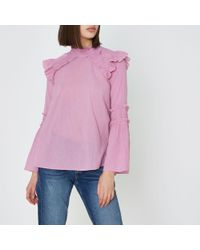 River Island - Pink Shirred Frill High Neck Blouse - Lyst