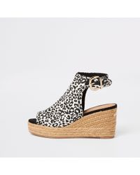 70ebe1210b2df1 River Island - Brown Leopard Print Wedge Sandals - Lyst