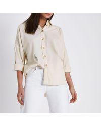 River Island - Cream Wash Distressed Denim Shirt - Lyst