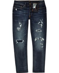 River Island - Dark Blue Slim Fit Ripped Jeans - Lyst