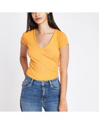 River Island - Ribbed V Neck Fitted T-shirt - Lyst