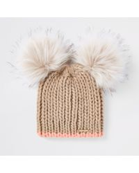 423ff1e8090 Lyst - River Island Double Faux Fur Pom Pom Beanie Hat in Natural