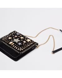 River Island - Leather Star Studded Cross Body Bag - Lyst