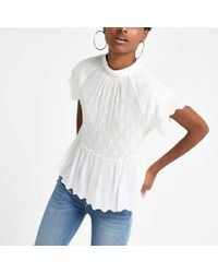 a034a656f4707 River Island Pink Short Sleeve Bardot Top in White - Lyst