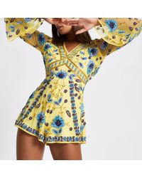 River Island - Yellow Floral Sequin Embellished Playsuit - Lyst
