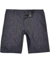 River Island - Blue Textured Bermuda Shorts - Lyst