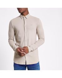 7ef9240bfb Lyst - River Island White Muscle Fit Short Sleeve Paisley Shirt in ...