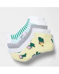 River Island - Blue Cactus Novelty Trainer Socks Multipack - Lyst