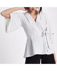 River Island - Cream Stripe Wrap Kimono Sleeve Top - Lyst