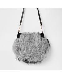 River Island - Leather Mongolian Fur Cross Body Bag - Lyst