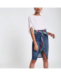 River Island - Mid Blue Denim Belted Pencil Skirt - Lyst