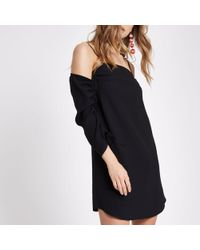 River Island - Black Cold Shoulder Ruched Sleeve Swing Dress - Lyst