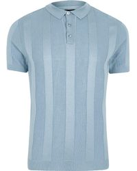 River Island - Blue Rib Knit Muscle Fit Polo Shirt - Lyst