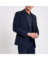 River Island - Navy Skinny Suit Jacket - Lyst