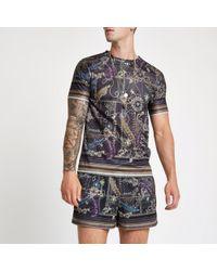 River Island - Black Mesh Baroque Print Slim Fit Shorts - Lyst