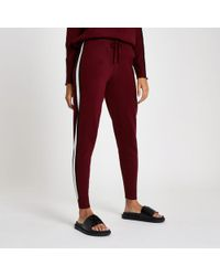 River Island - Red 'winging It' Knitted Joggers - Lyst