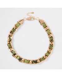 River Island - Neon Green Snake Print Chunky Necklace - Lyst