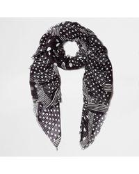 River Island - Black Polka Dot Print Frayed Scarf - Lyst