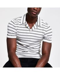 2e8d2bd9 River Island Black Textured Long Sleeve Polo Shirt in Black for Men ...