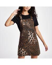 9b2df53092c River Island - Denim Leopard Print Pinafore Overall Dress - Lyst