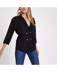 River Island - Black Tie Waist Fitted Shacket - Lyst