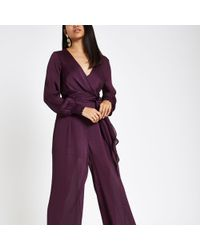 River Island - Petite Purple Wrap Front Wide Leg Jumpsuit - Lyst
