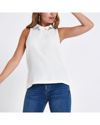 River Island - Petite Cream Embellished Collar Top - Lyst