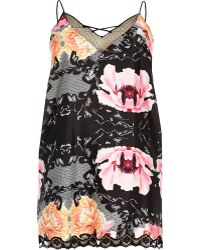 River Island - Plus Black Floral Slip With Lace Detail - Lyst