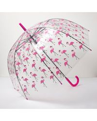 River Island - Clear Flamingo Print Umbrella - Lyst