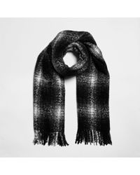 River Island - Shadow Check Scarf - Lyst