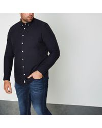 River Island - Big And Tall Navy Casual Oxford Shirt - Lyst