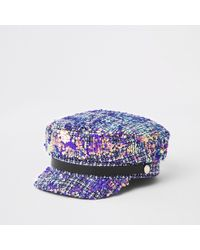 River Island - Grey Tweed Sequin Baker Boy Hat - Lyst