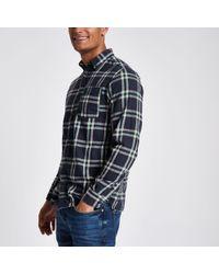 River Island - Jack And Jones Original Navy Check Shirt - Lyst