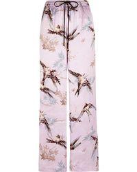 River Island - Purple Satin Bird Print Palazzo Pyjama Bottom - Lyst