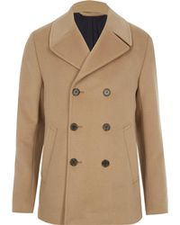 River Island - Light Brown Double Breasted Peacoat - Lyst